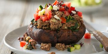 Greek-Style Beef Stuffed Portobello Mushrooms