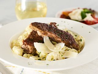 Braised Beef Short Ribs and Gnocchi with Charred Banana Pepper and Wine Cream Sauce