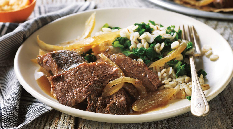 Horseradish-Braised Pot Roast with Barley & Kale