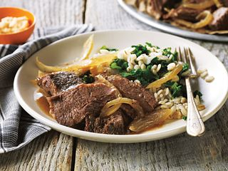 Horseradish-Braised Pot Roast with Barley and Fresh Kale