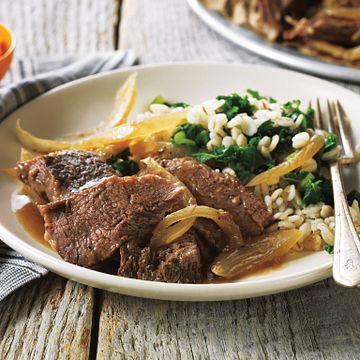 Horseradish-Braised Pot Roast with Barley and Fresh Kale