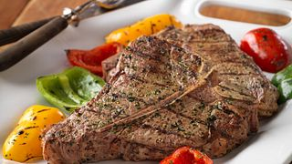 Grilled Beef Porterhouse Steak & Colorful Peppers