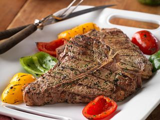 Grilled Beef Steak & Colorful Peppers