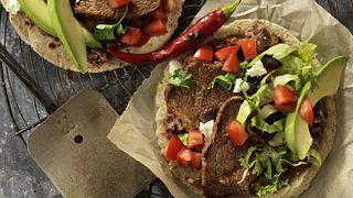 Beef Breakfast Steak and Black Bean Soft Tacos