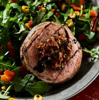Grilled Beef Flank Pinwheels on Rocket Salad