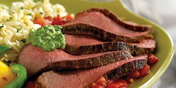 Grilled Steak with Arugula Pesto and Vodka-Tomato Sauce