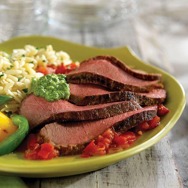 grilled-steak-with-arugula-pesto-and-vodka-tomato-sauce
