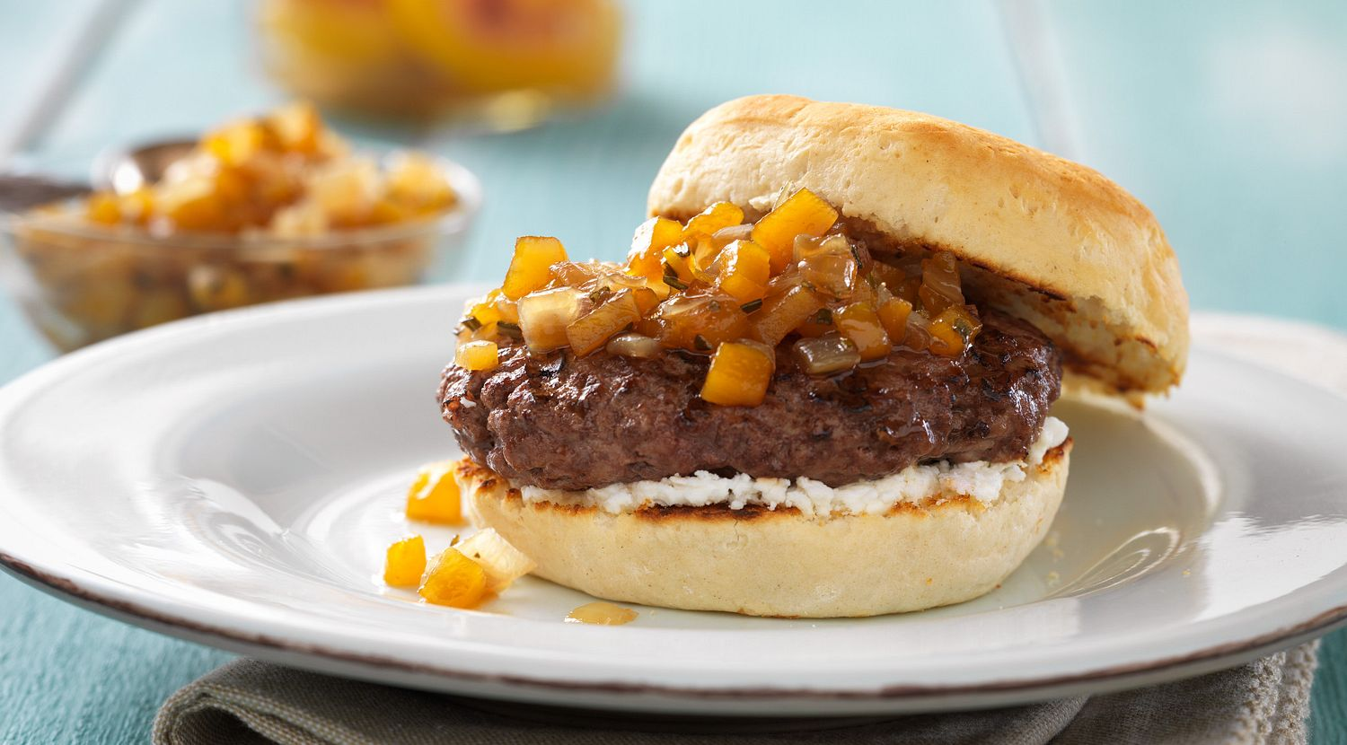 Old South Burgers with Peach Compote