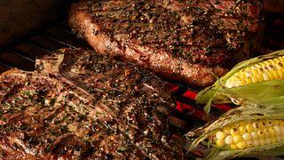 Grilled Porterhouse Steaks with Garlic-Herb Peppercorn Crust