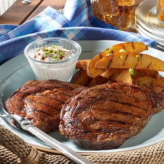 Grilled Ribeye Steaks withPotatoes and Smoky Paprika Rub