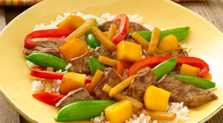 Vegetable-Mango Beef Stir-Fry