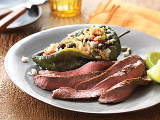 Lime-Marinated Flank Steak with Stuffed Poblano Peppers