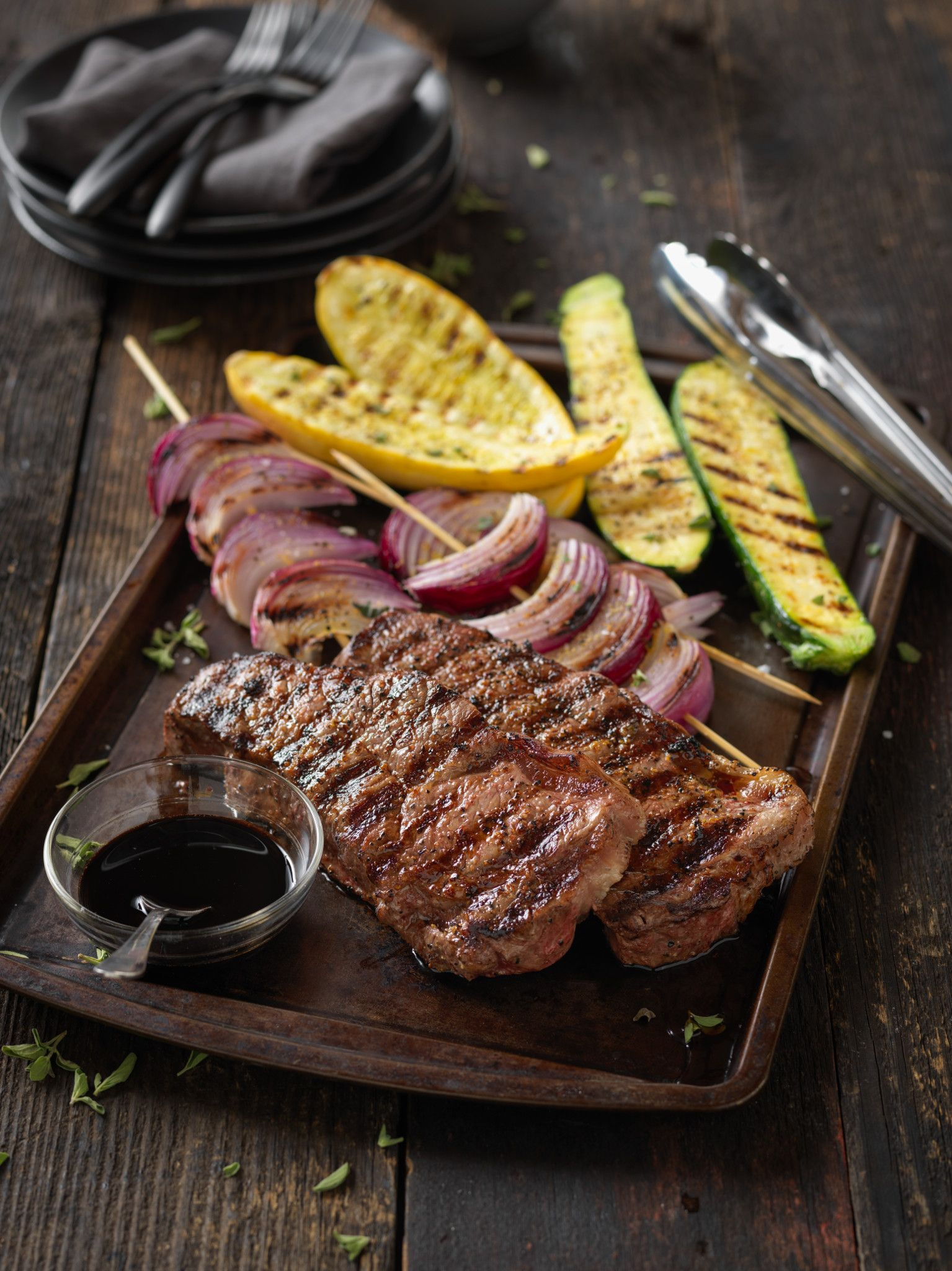 Beef Strip Steaks with Balsamic Grilled Vegetables