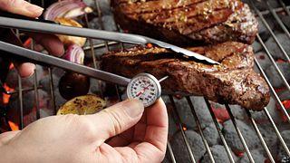 Grecian Beef Top Loin Steaks and Mushroom Kabobs Step 3 (temping steaks)