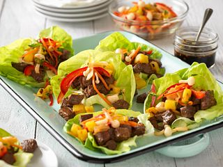Savory Beef Steak Lettuce Cups with Grilled Pineapple Relish