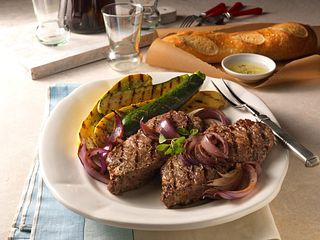 Beef Top Loin Steaks with Grilled Onion Relish