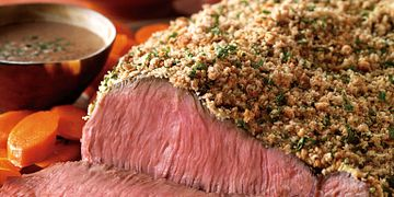 Crumb-Crusted Top Sirloin & Roasted Potatoes with Bourbon Sauce