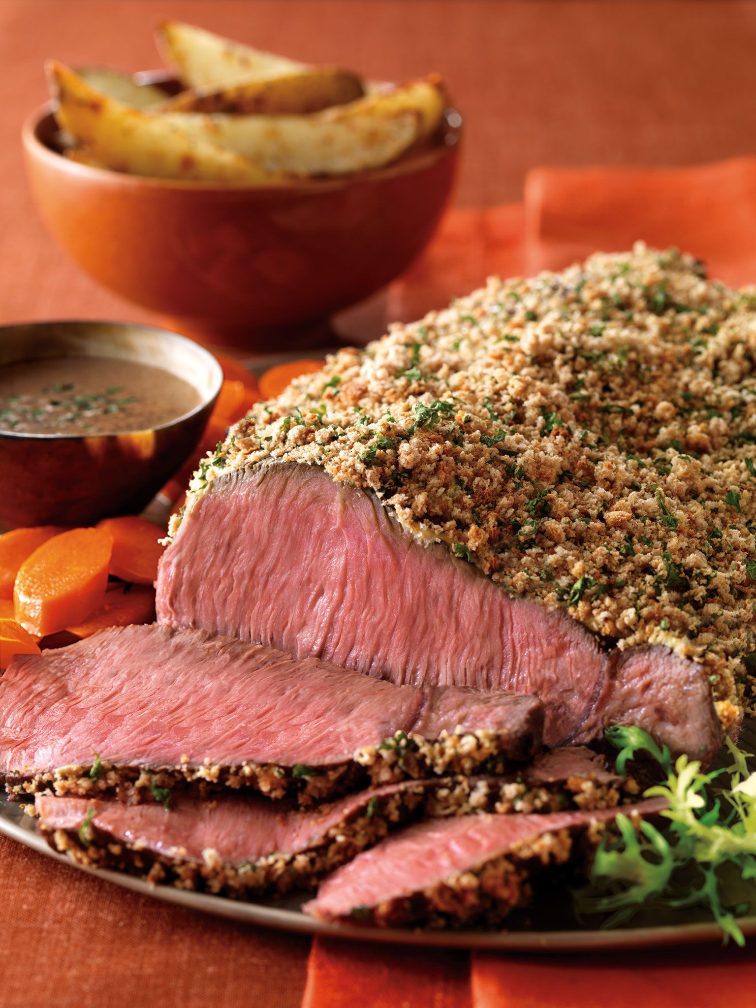 Crumb-Crusted Top Sirloin and Roasted Garlic Potatoes with Bourbon Sauce