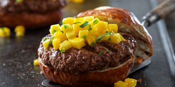 Caribbean Beef Burgers with Mango Salsa