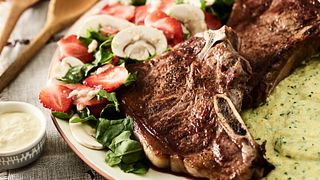 Beef Strip Steaks with Kale Polenta and Mushroom-Strawberry Salad