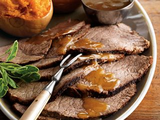Pot Roast with Cider-Maple Gravy and Mashed Butternut Squash