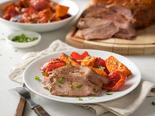 Roasted Sun Dried Tomato Beef Tri-Tip with Roasted Vegetables