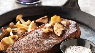 Skillet Steaks with Sautéed Exotic Mushrooms