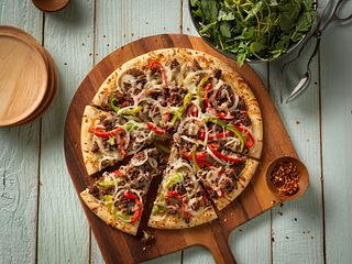 Beef Pepper and Onion Pizza