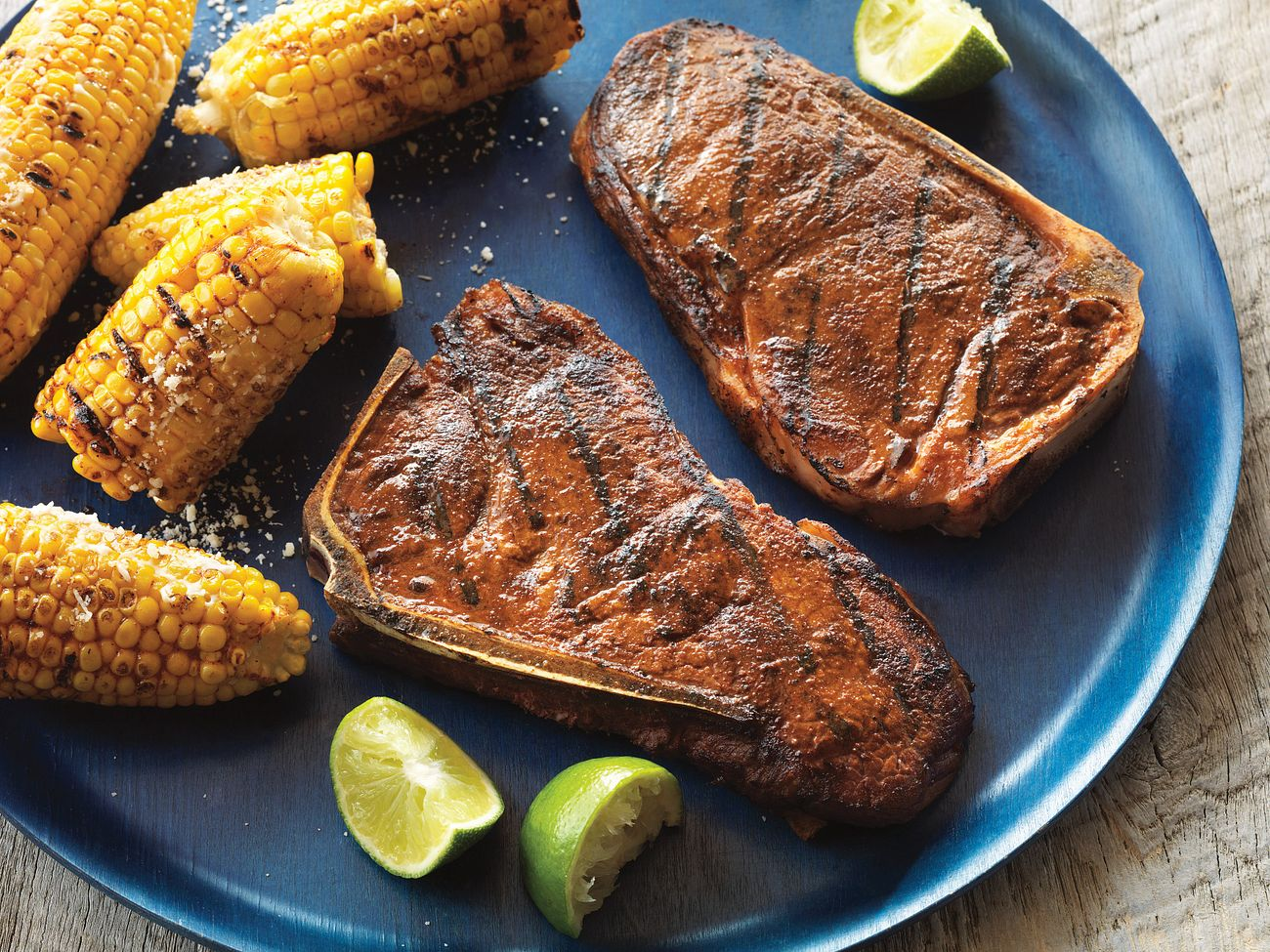 smoky-grilled-strip-steaks-with-mexican-style-corn