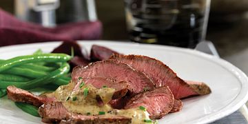 Beef Steaks with Mustard-Bourbon Sauce