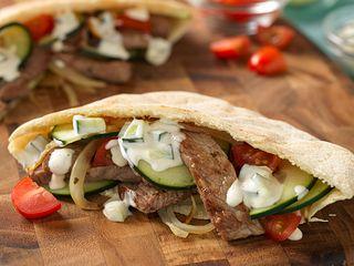 Stir-Fried Beef Gyros in Pita Pockets