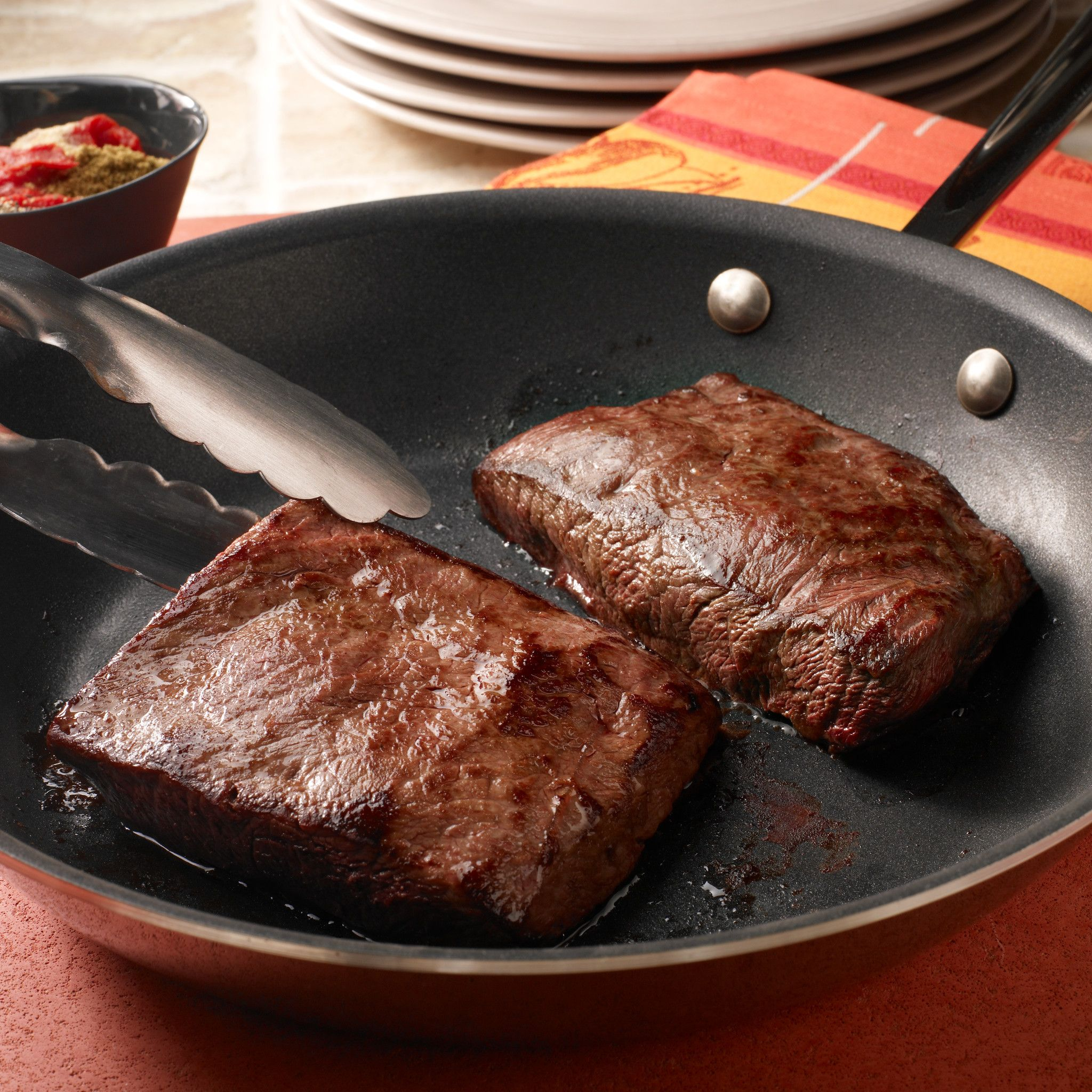 Flat Iron Steaks with Paprika-Cumin Sauce