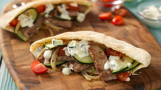 Stir-Fried Beef Gyros in Pita Pockets