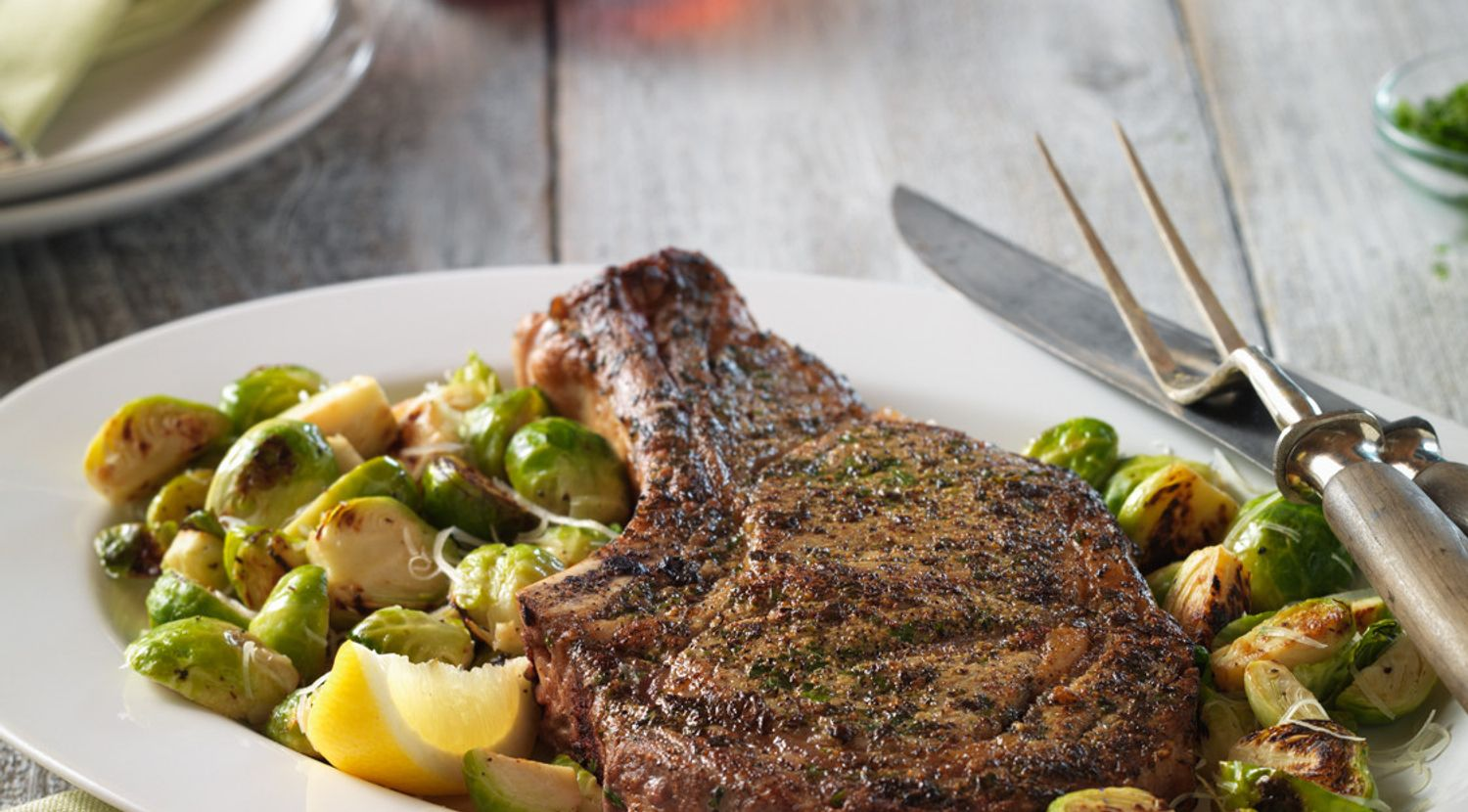 Ribeye and Sauteed Brussels Sprout Skillet Dinner for Two