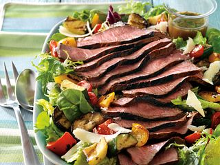 Steak and Grilled Ratatouille Salad