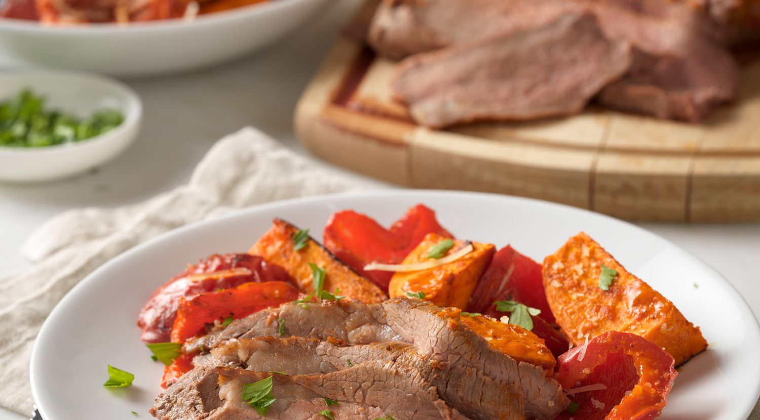 Roasted Sun-Dried Tomato Beef Tri-Tip with Peppers and Sweet Potatoes