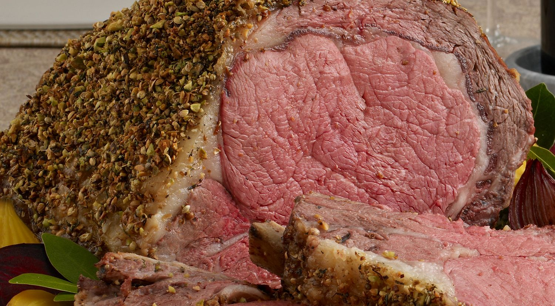 Pistachio-Crusted Beef Ribeye Roast with Holiday Wine Sauce