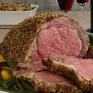 Pistachio Crusted Ribeye Roast with Holiday Wine Sauce