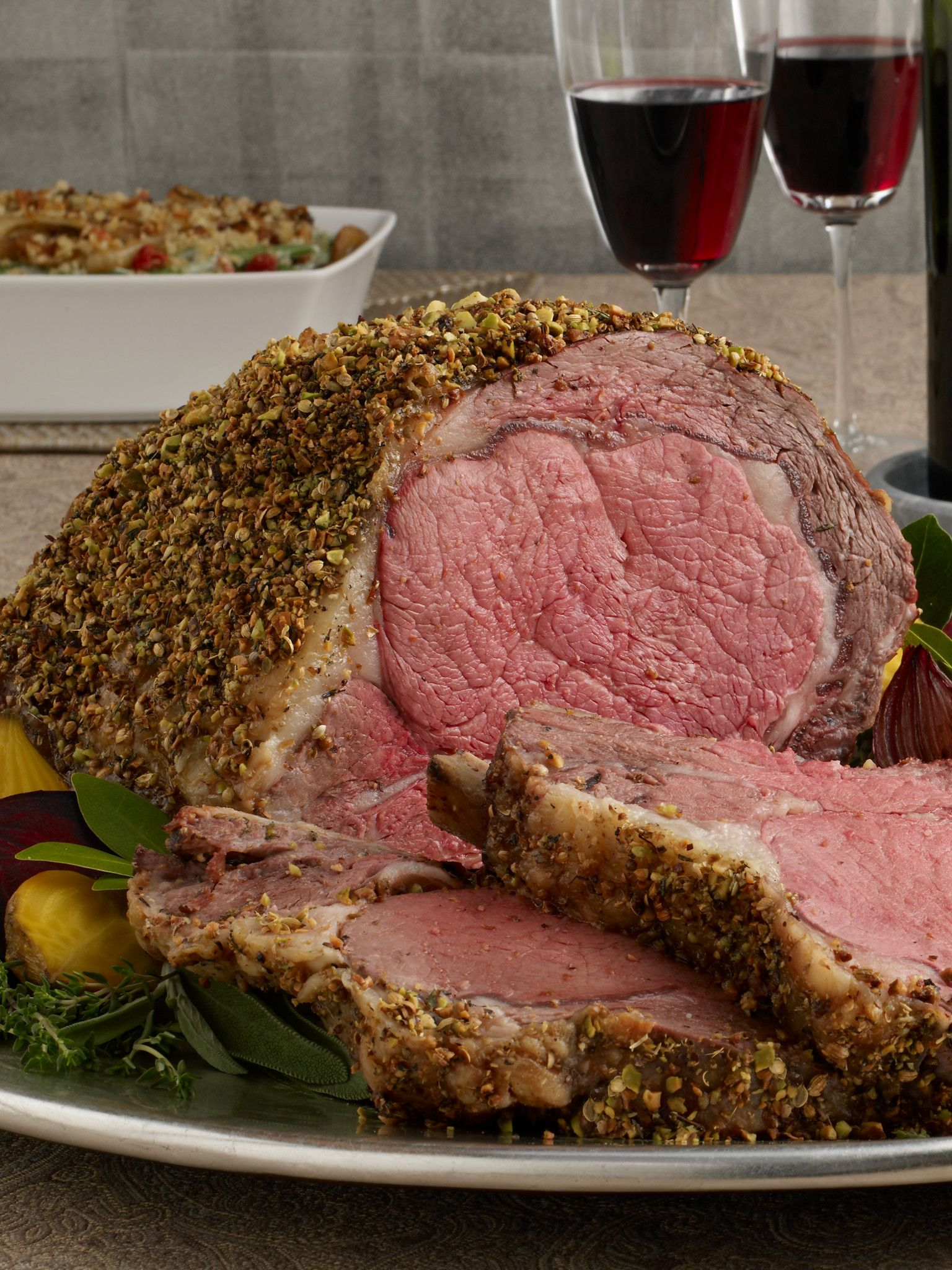 Pistachio-Crusted Beef Ribeye Roast with Holiday Wine Sauce