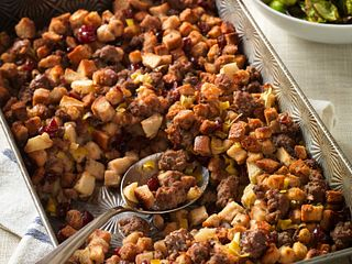 Beef Sausage Stuffing with Apples & Cranberries