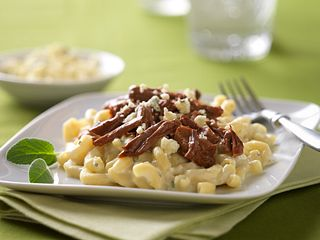 Beefed Up Mac & Cheese