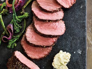 Peppered Top Sirloin Roast with Sautéed Broccolini