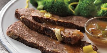 Braised Beef Pot Roast with Leek-Mustard Au Jus
