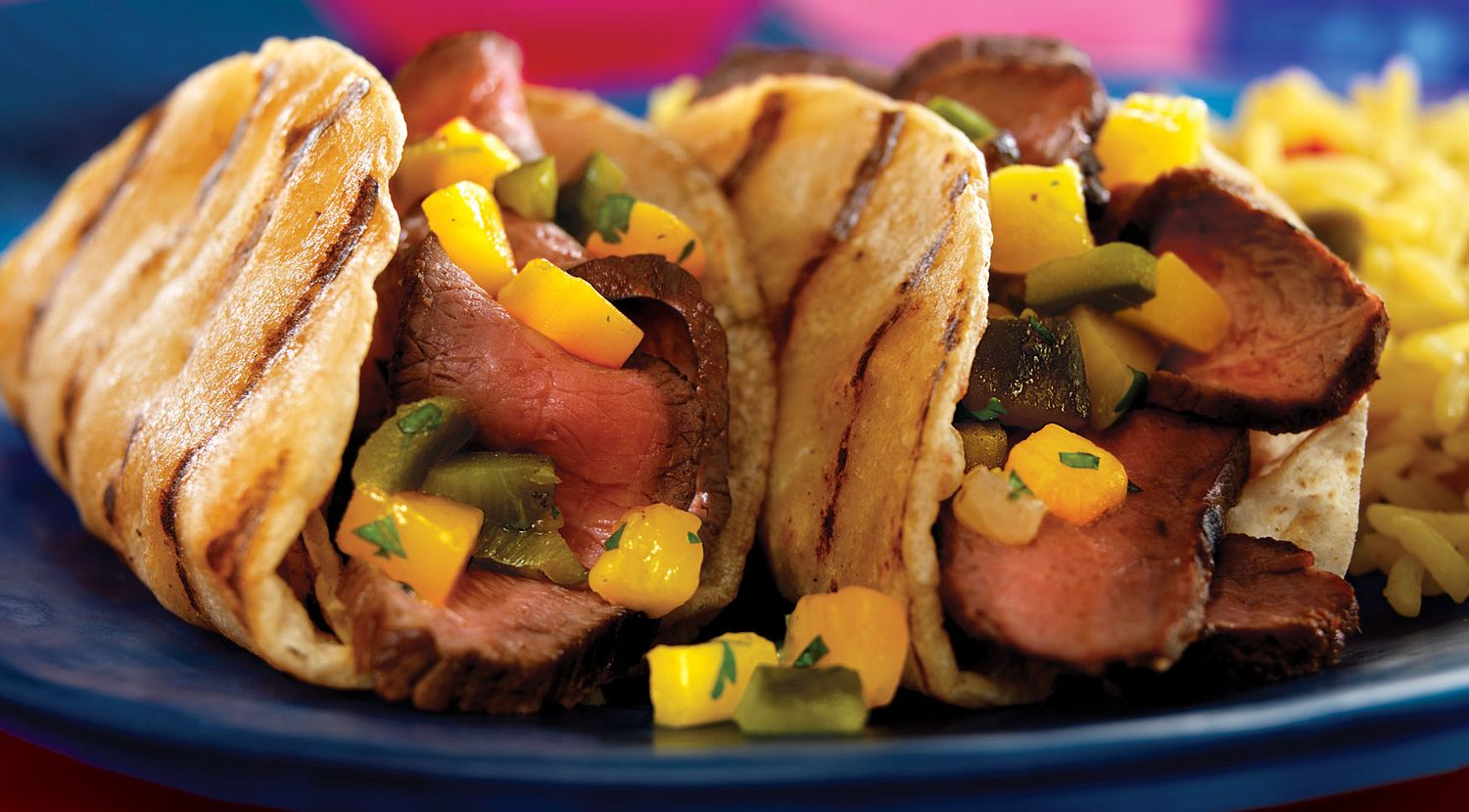 Grilled Steak Tacos with Poblano-Mango Salsa
