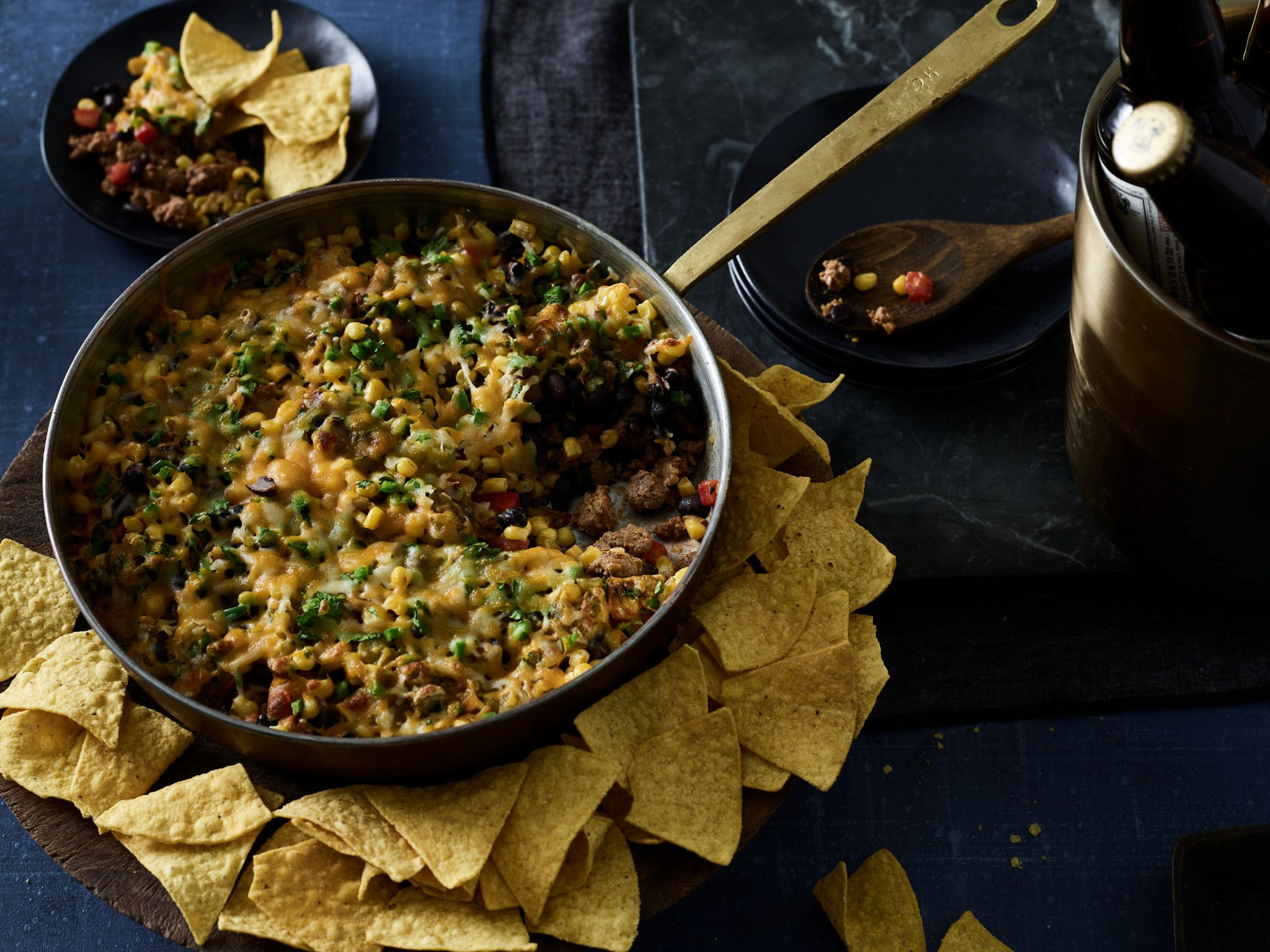One Skillet Beefy 7-Layer Dip