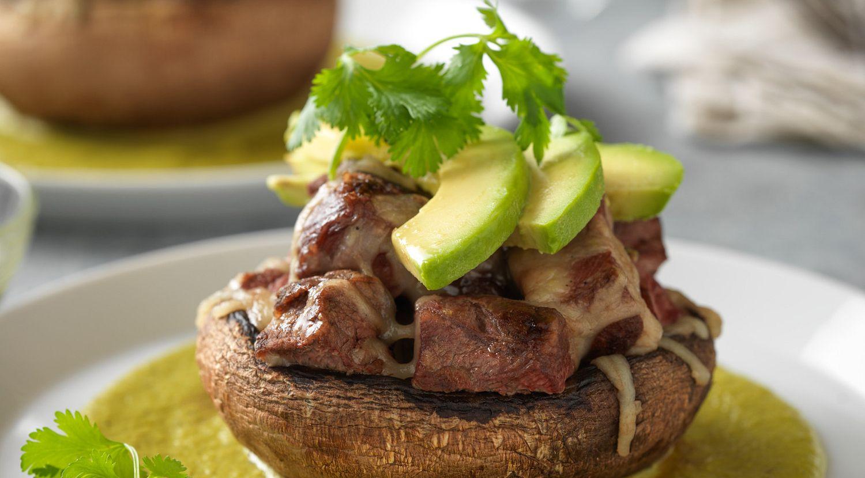 Steak-Stuffed Portobello with Creamy Poblano Sauce