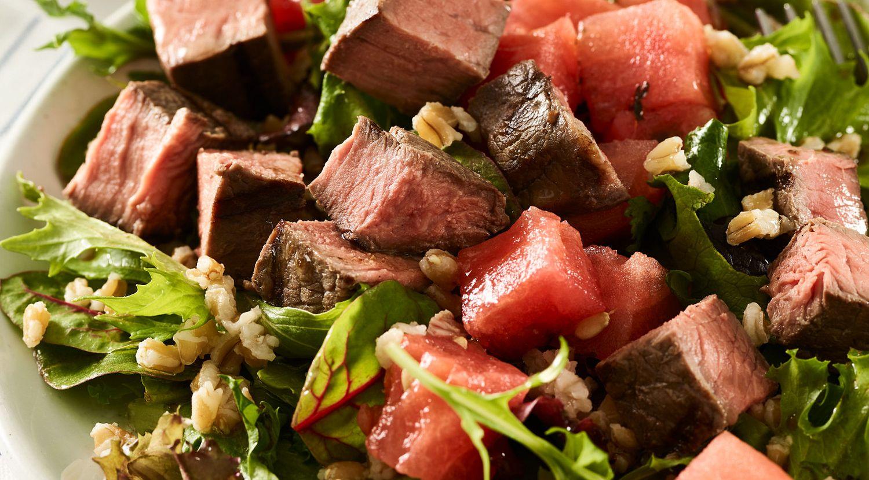 Sous Vide Top Sirloin, Farro and Compressed Watermelon Salad