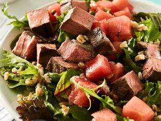 Sous Vide Top Sirloin, Farro and Compressed Watermelon Salad
