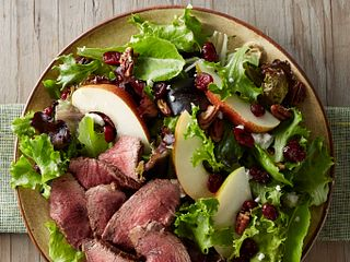 Tenderloin, Cranberry and Pear Salad with Honey Mustard Dressing