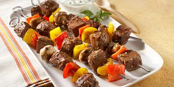 Beef, Sweet Peppers and Mushroom Kabobs with Cucumber Yogurt Sauce